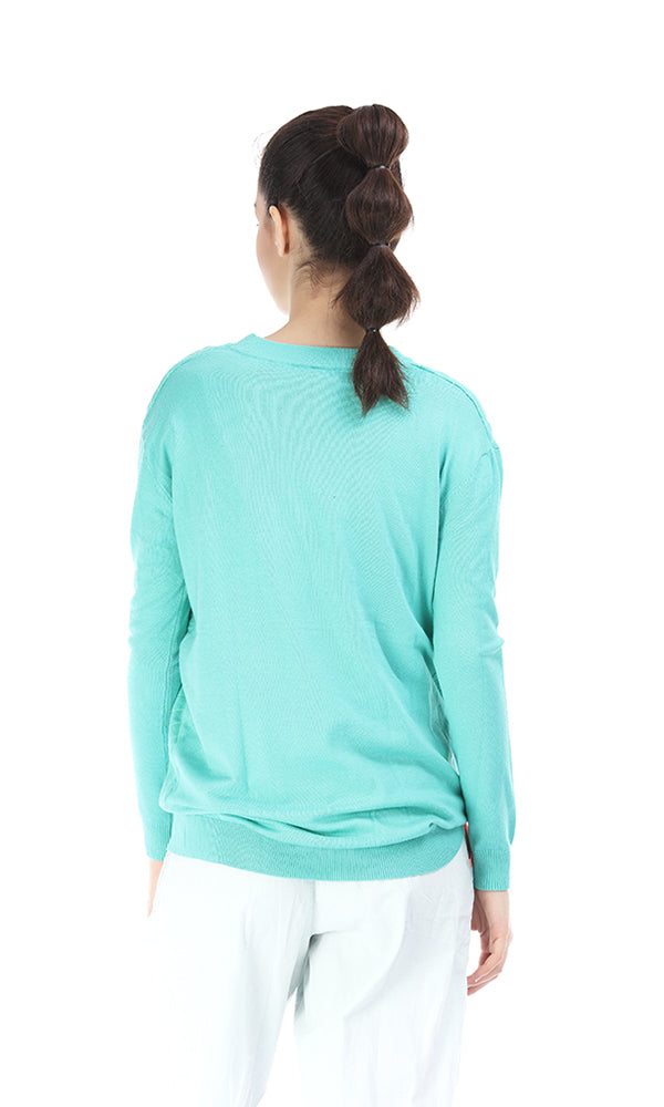 Quilted Sweater-Front Asymmetric Zippers-Round Neck
