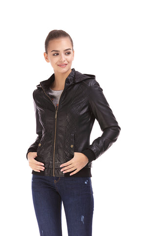 Faux Leather Jacket, Quilted Panel, Rib-Knit Hem, Removable Hood-Black