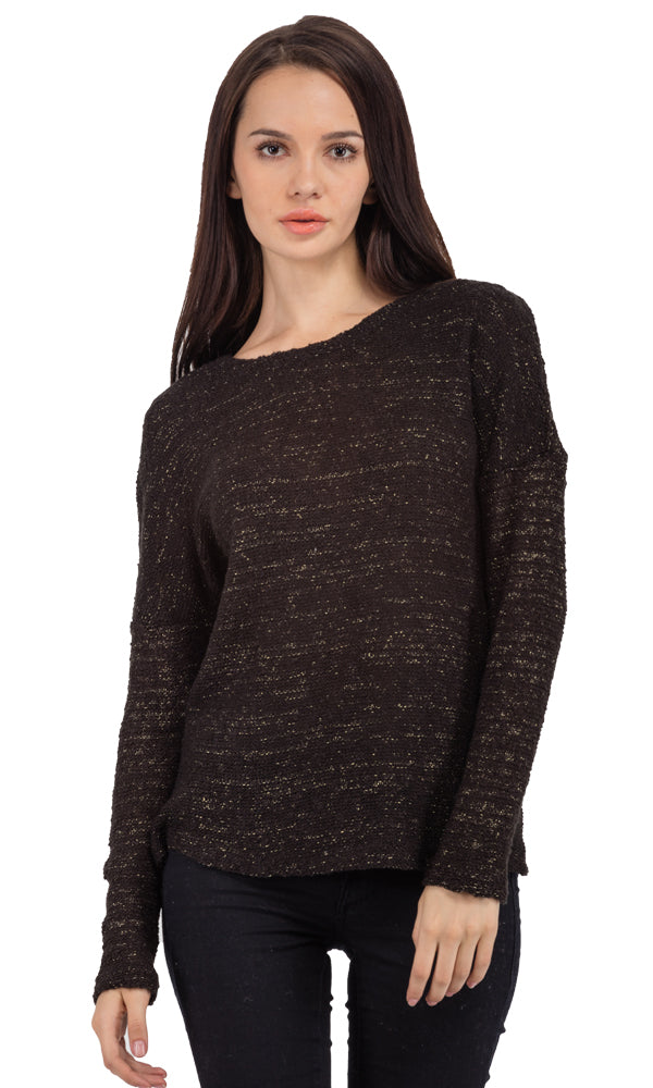 Boucle Sweater-Metallic-Threaded-Round Neck