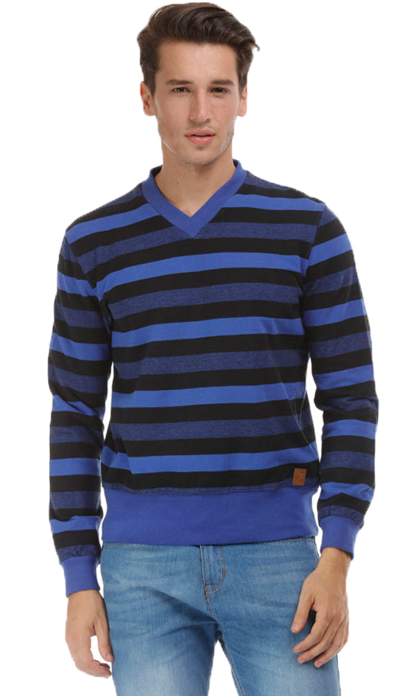 v-neck stripe sweatshirt
