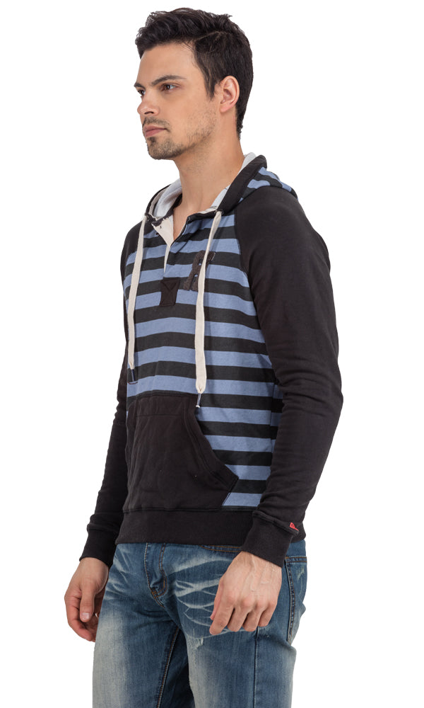Stripe Hoodie-Front Pocket-Half Button Band-Logo Embroidered