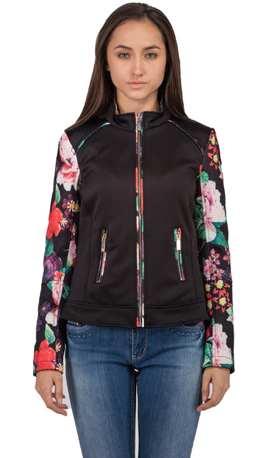 32385 Floral Sleeves Jacket - Black