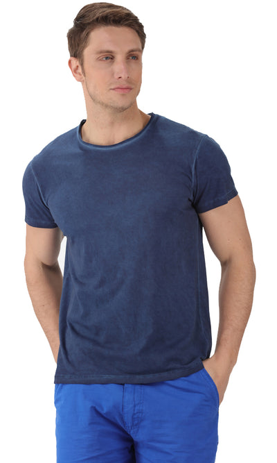 32426 Wash Effect T-Shirt-Navy Blue