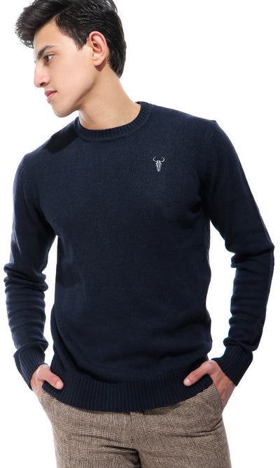 33501 Navy Blue Fluffy V-Neck Pullover