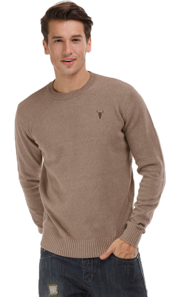 Solid Swetaer-Round Neck-Logo Embroidered
