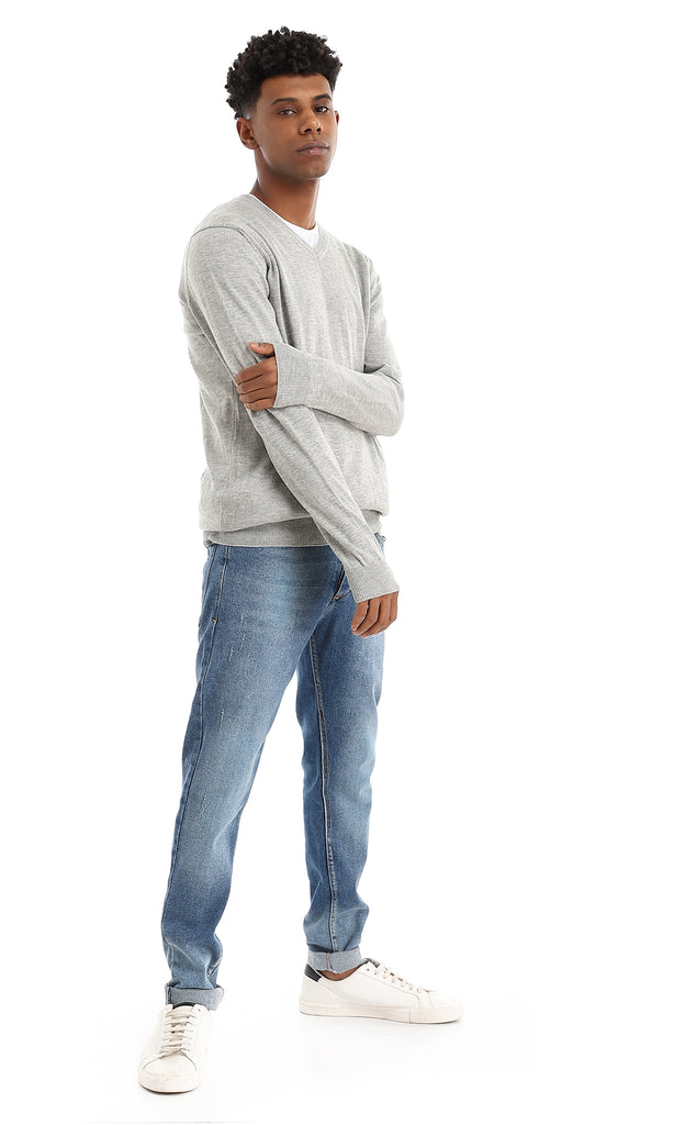 Smooth Cotton V-Neck Light Heather Grey Pullover