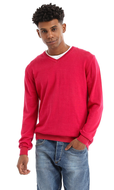 33512 Winter V-Neck Dark Fuchsia Basic Pullover