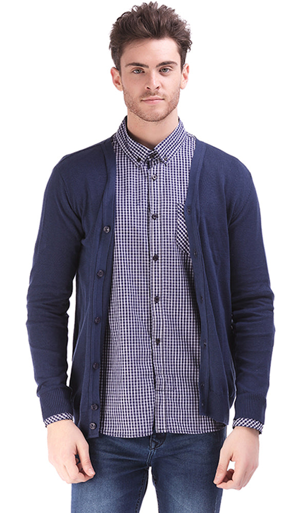 Solid Cardigan - Navy Blue