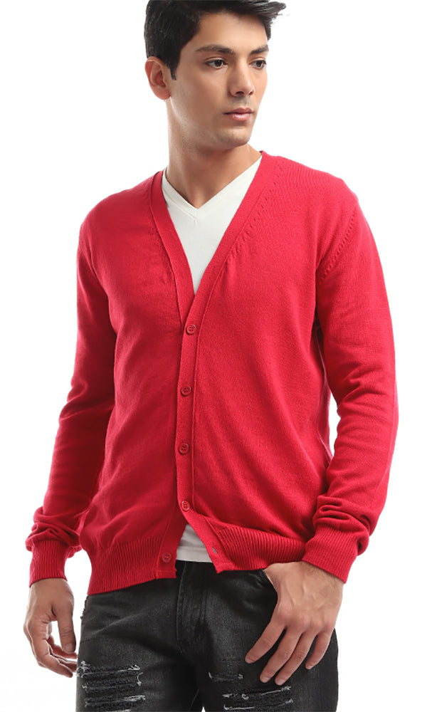33517 Solid Red Buttoned Long Sleeevs Cardigan