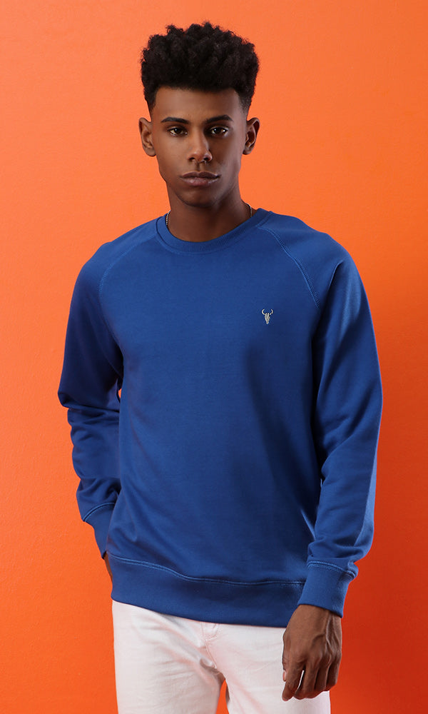 raglan sleeves-solid sweatshirt-round neck
