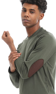 33522 Patch Sleeves Solid Army Green Basic Sweatshirt