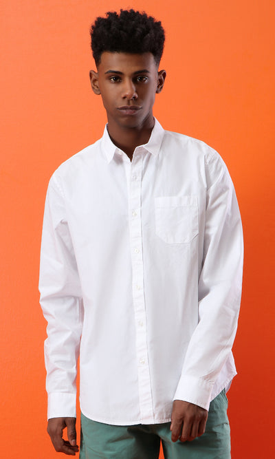 33531 Basic Long Sleeves Solid Shirt - White