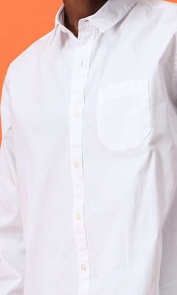 Poplin Shirt-Chest Pocket-Regular Fit