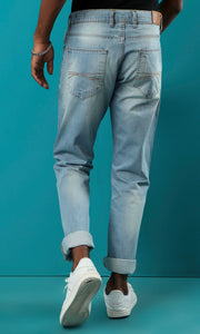 33537 Light Blue Jeans Straight Fit Basic Jeans