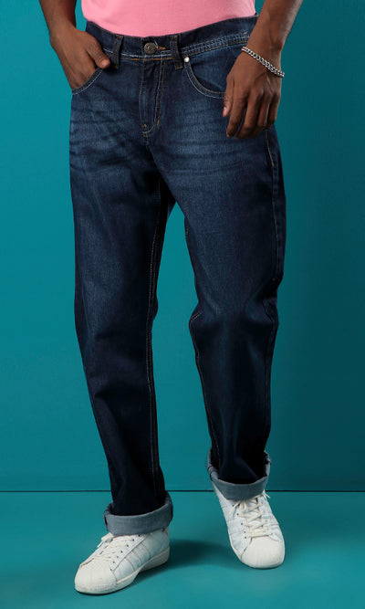 33540 Dark Blue Jeans Slim Fit Basic Casual Jeans