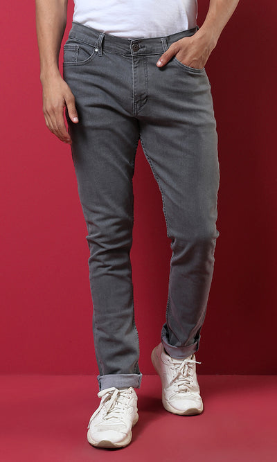 33548 Blended Cotton Basic Slim Pants - Grey