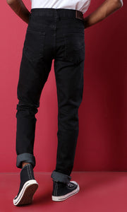 33551 Basic Casual Skinny Solid Black Jeans