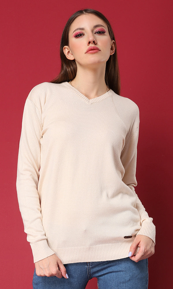 Fitted Basic Sweater-V-Neck