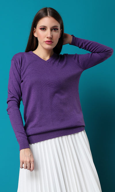 33556 Solid Mauve Ribbed Hem Long Sleeves Basic Pullover