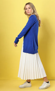33559 Solid Buttoned Royal Blue Hem Long Sleeves Cardigan