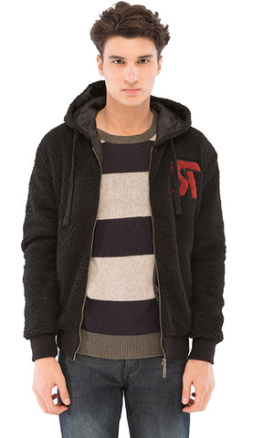 Fashionable Hooded Sweatshirt - Black