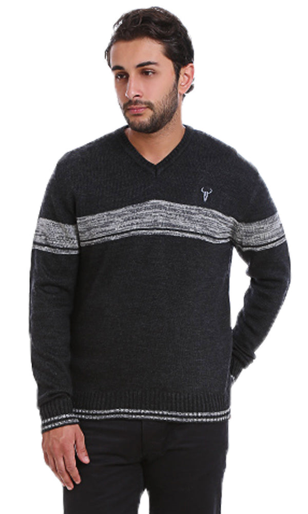 Chest Striped Sweater-Stripe Rib-Round Neck