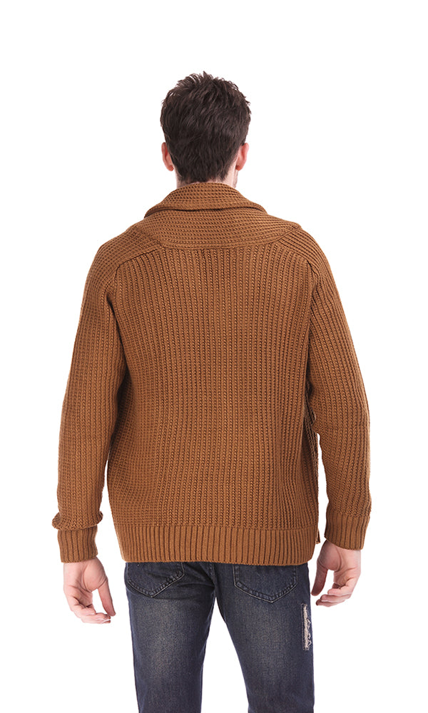 cable knitwear cardigan-shawl collar