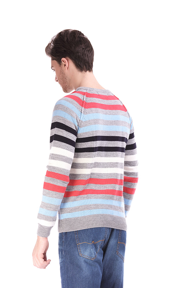 Stripe Sweater-V-Neck-Printed Logo