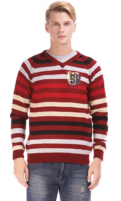 33645 Striped Pullover - Burgundy, Black & Grey