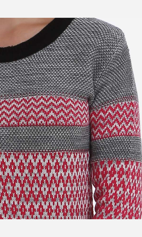 Printed Long Sweater-3/4 Sleeves-Round Neck
