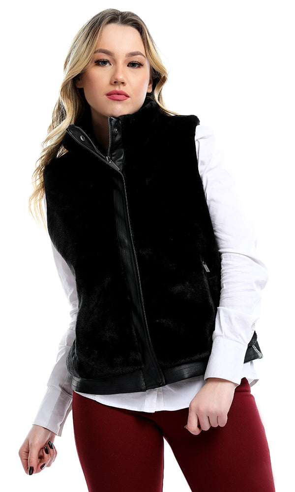 Faux Fur Vest-Faux Leather Details