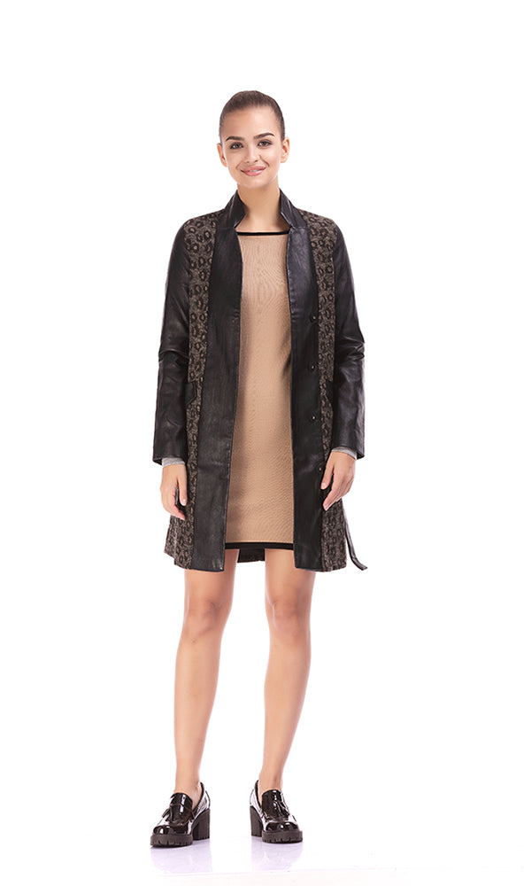 Long Faux Leather Coat-Printed Panels