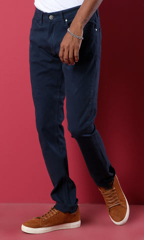 33852 Dark Petroleum Slim Fit Basic Gabardine Pants