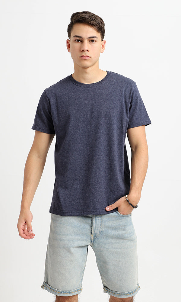 Solid Round Neck T-Shirt - Navy Blue