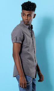 33891 Front Pocket Short Sleeves Grey Basic Shirt