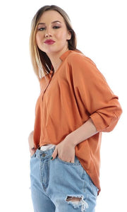 3/4 Sleeves Comfy Buttoned Hi Low Brick Orange Top - women shirts & blouses