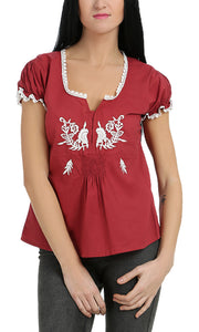 34020 Embroidered Top - Brick Red