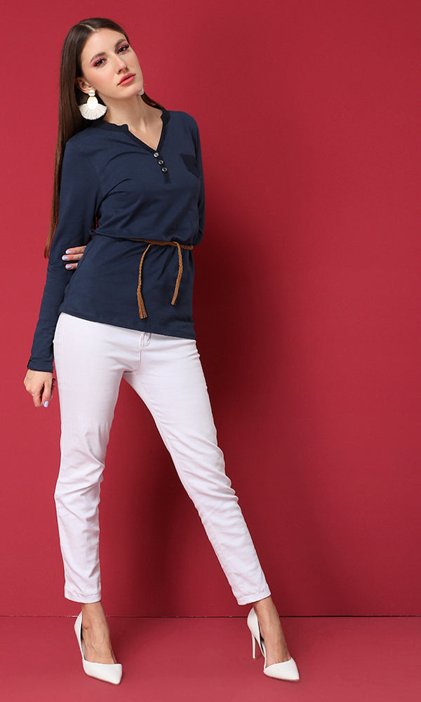 Long Sleeves Belted T-Shirt-Half Placket