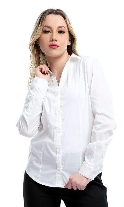 34156 Formal Solid White Long Sleeves Buttoned Basic Shirt