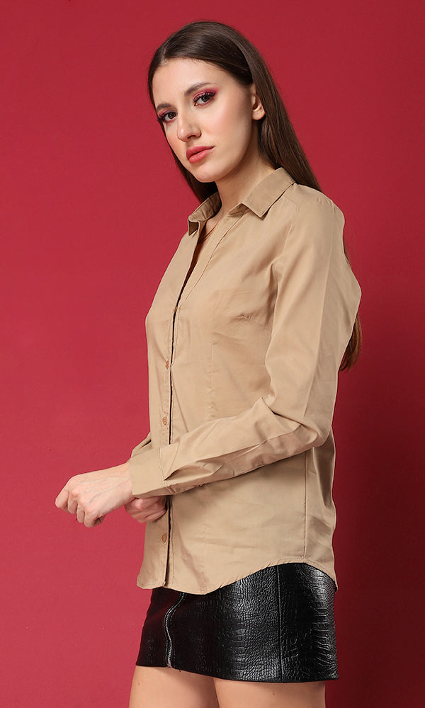 34159 Buttoned Down Basic Shirt - Dark Beige