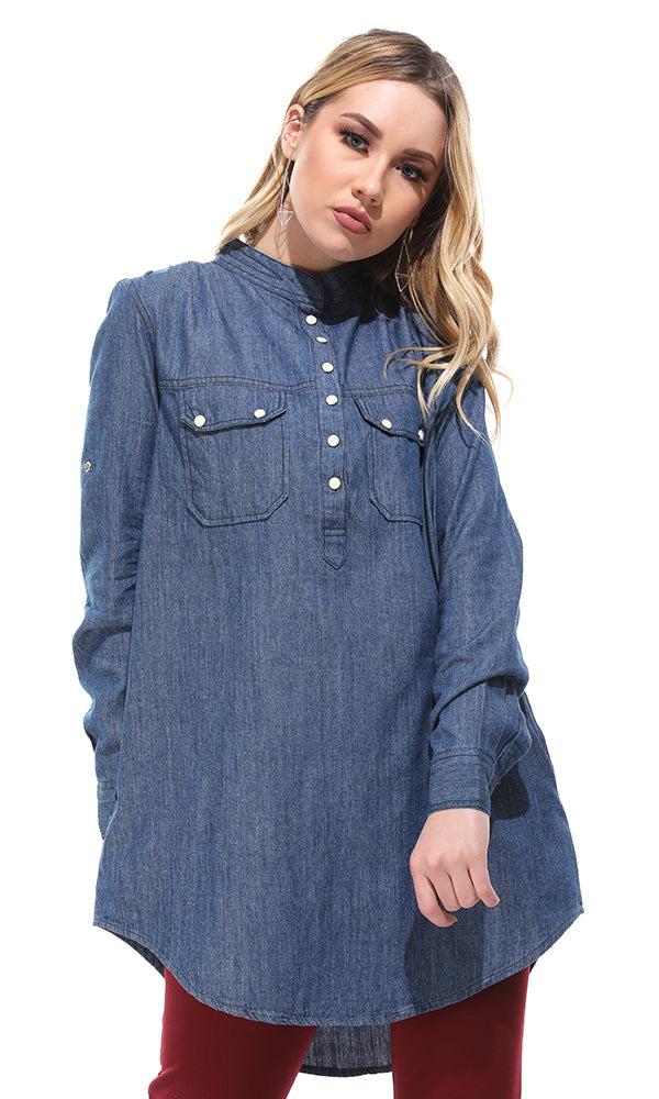 long denim shirt-chest pockets-long sleeves