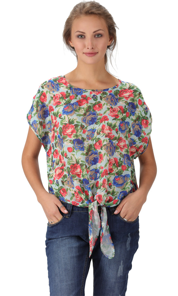floral chiffon top - blue