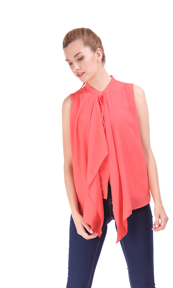Waterfall Solid Blouse - Red