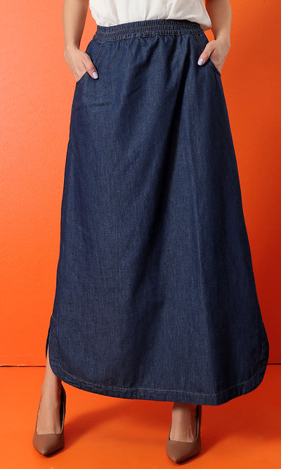 34553 Side Pockets Elastic Waist Basic Jeans Skirt