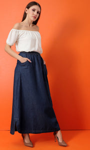 34553 Side Pockets lastic Waiss أساسي Skans Skirt