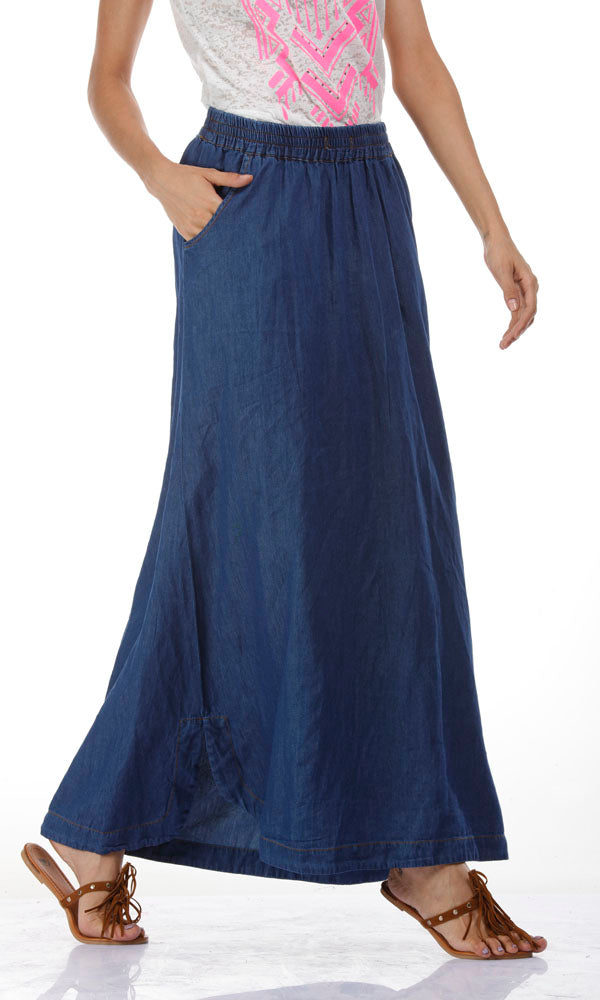 Denim Maxi Skirt-Blue