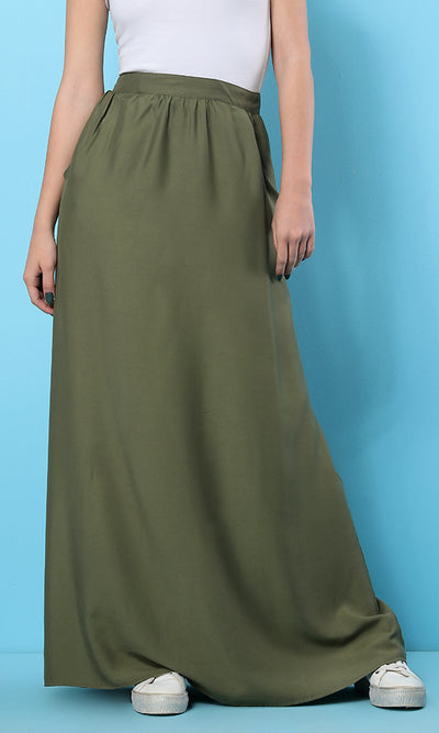 34555 Basic Maxi Loose Olive Skirt