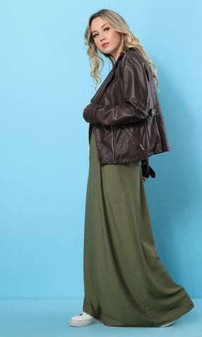 Solid Maxi Loose Olive Skirt