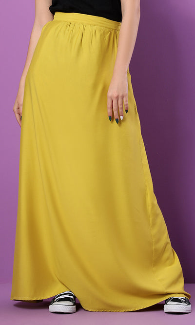 34556 Zipped Back Basic Goldenrod Maxi Skirt