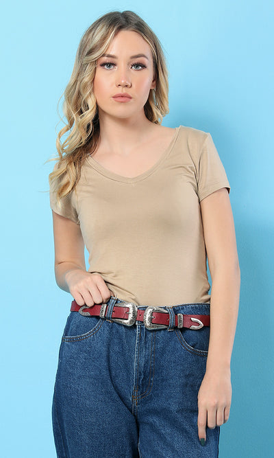 34603 Solid T-Shirt - Coffee Latte